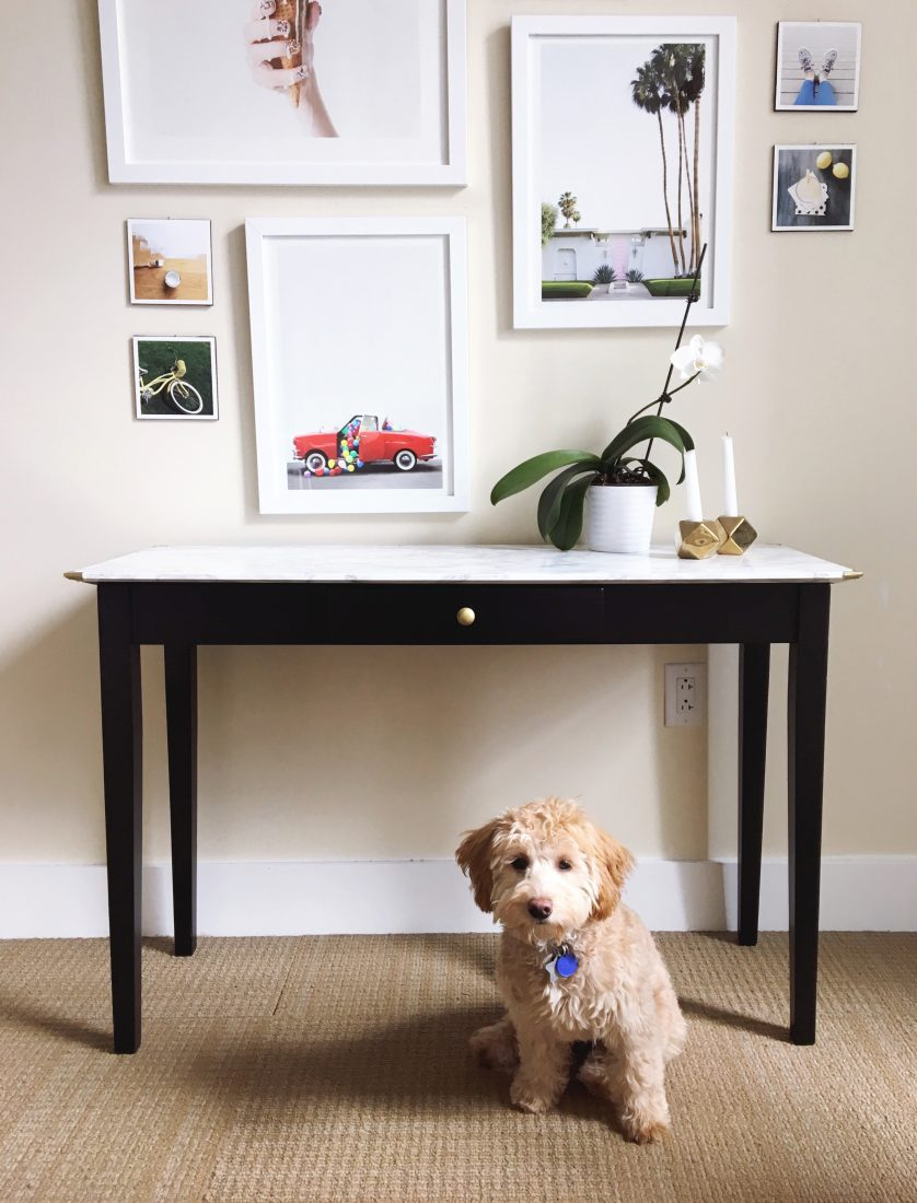 Diy Table Makeover With Marble Contact Paper Omc Blog