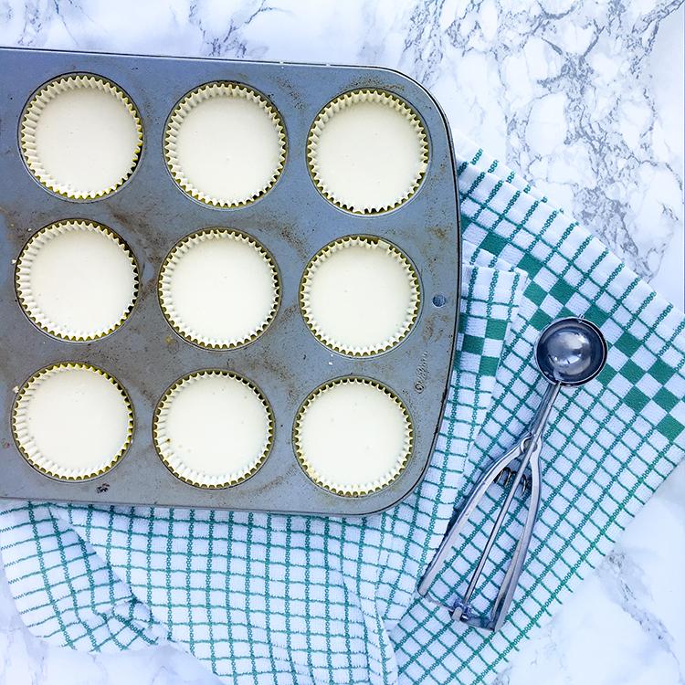 Baking Cupcake Pan With Lemon Cheesecake Batter