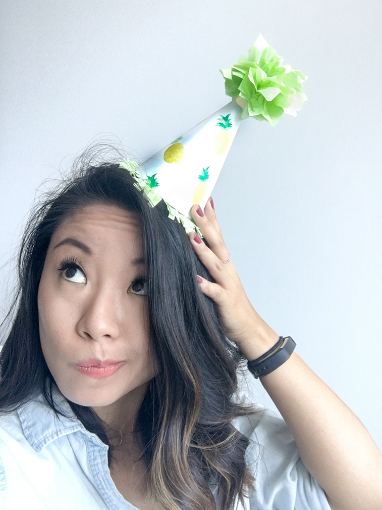Me Wearing DIY Paper Party Hats with Tissue Paper Pom Poms
