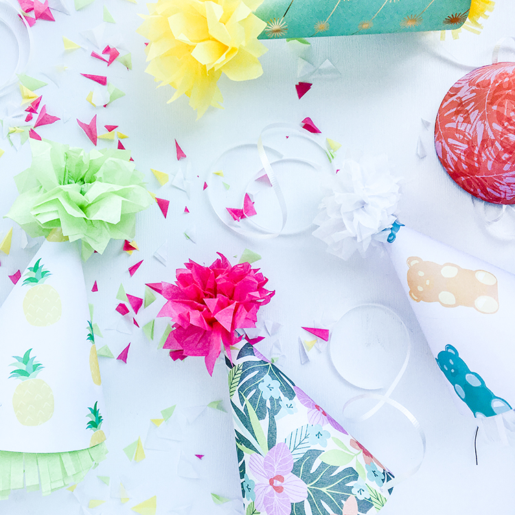 OMC DIY Paper Party Hats with Pom Poms