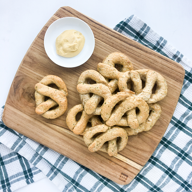 OMC Paleo Pretzels Board with Mustard Sauce
