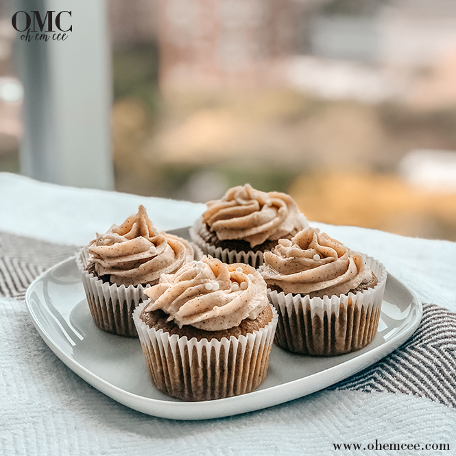 Homemade Pumpkin Spice Cupcakes by window