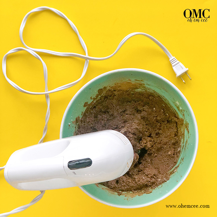 Chocolate Football Cookies - dough and mixer
