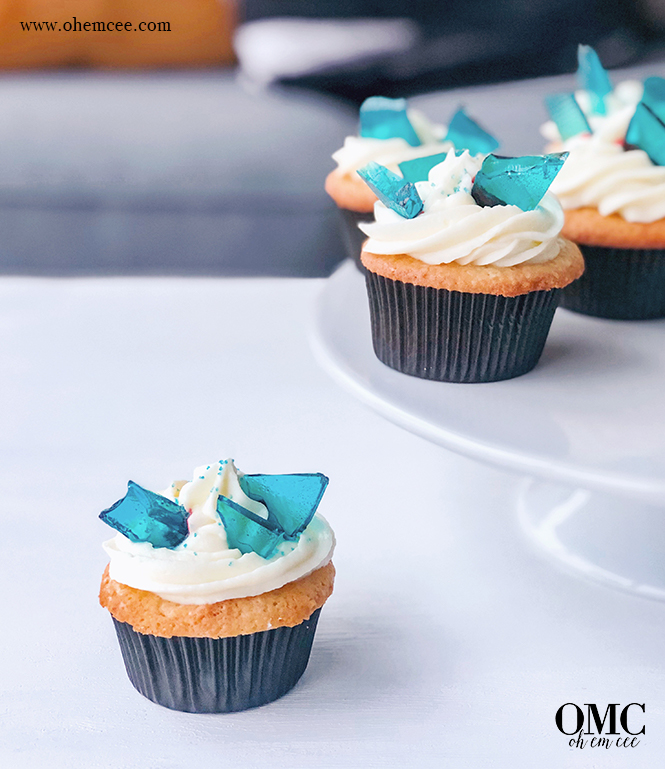 White Walker Cupcakes with cream cheese frosting and edible blue glass