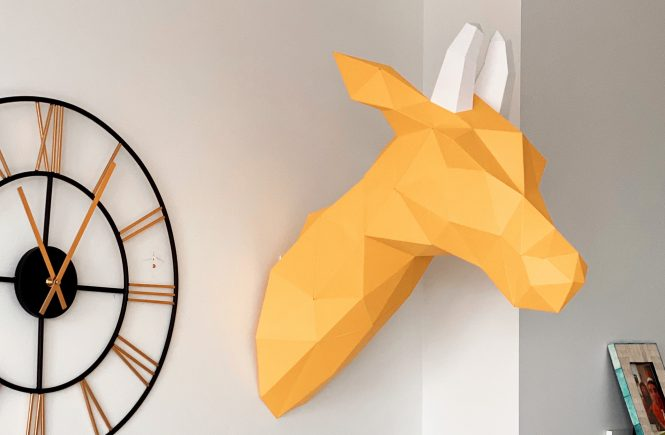 Paper Craft of Louise the Giraffe Hanging on the Wall
