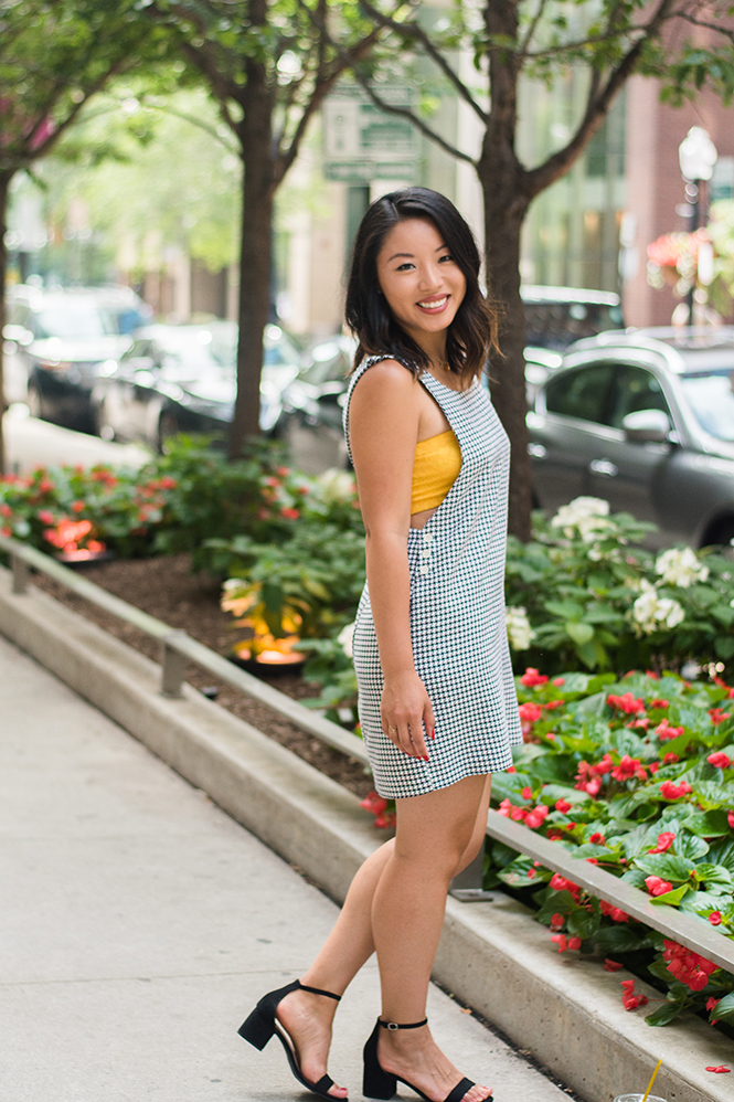 Thrift Store Style Houndstooth Jumper with Bandeau in City Streets