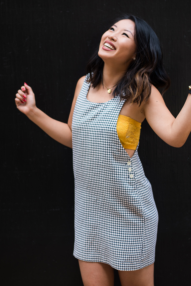 Thrift Store Style Houndstooth Jumper with Bandeau