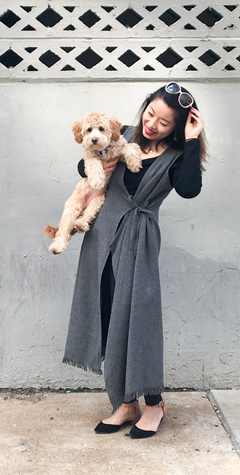 Thrift Store Style Full Length Duster with Puppy