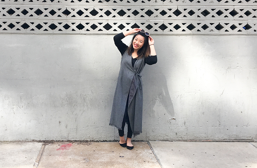 Thrift Store Style Full Length Duster with Sunglasses