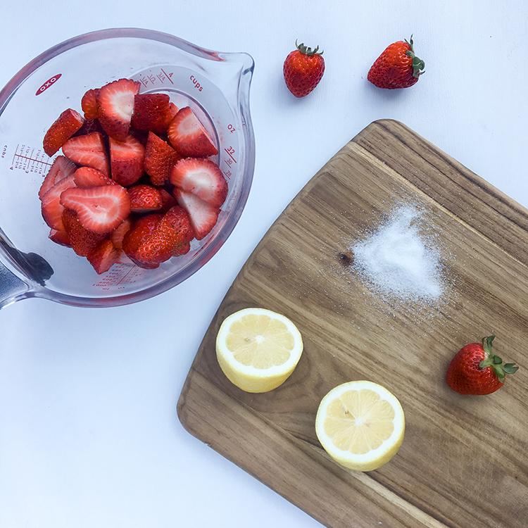Jam Ingredients Strawberries Lemon Sugar