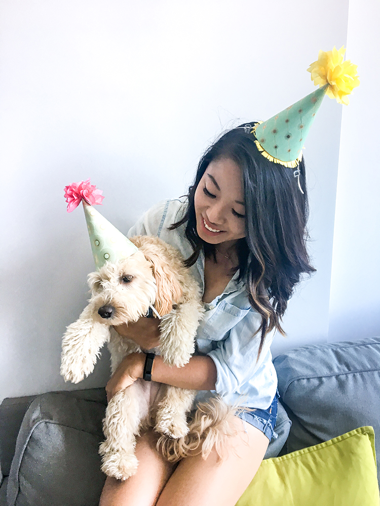 Me and Riply in DIY Paper Party Hats